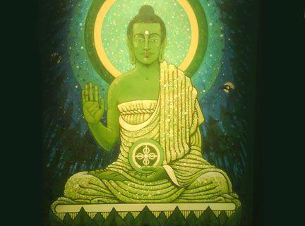 """Amogasiddhi: éxito sin obstáculos. La fuerza total de dos relámpagos diamantinos. El Buda del cuadrante norte es Amogasiddhi. Su nombre significa """"éxito sin obstáculos"""". Con frecuencia, se le representa moviéndose con rapidez a través del espacio. Aparece en la vasta expansión del cielo azul de la media noche. Puede atravesar cualquier cosa y permanecer sereno.  Es el perfecto plano de construcción."""