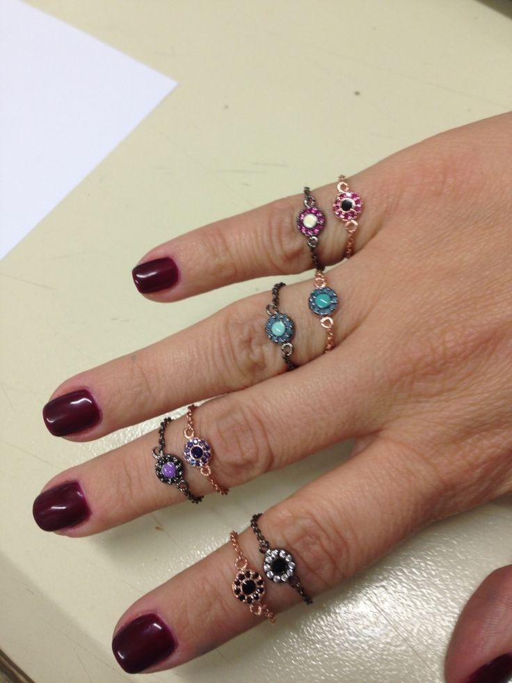 Little rings in silver 925 enamel & zirconia....so many combinations