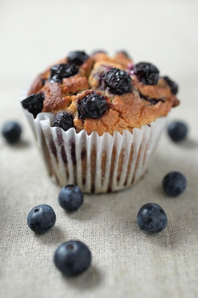high protein blueberry muffins with almond meal