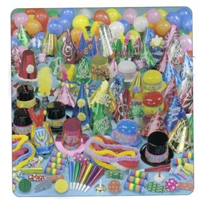 Mega Bonanza Party Kit for 100 people.     Contains 1 Top Hat for bartender, 1 deluxe tiara for waitress, 25 blowouts, 50 balloons, 45 full size foil hats, 10 plastic top hats & derbies, 45 H.N.Y. tiaras, 50 horns, 1 H.N.Y. banner, 25 deluxe metal noisemakers, 50 hawaiian poly leis & 200 flame resistant serpentine throws.