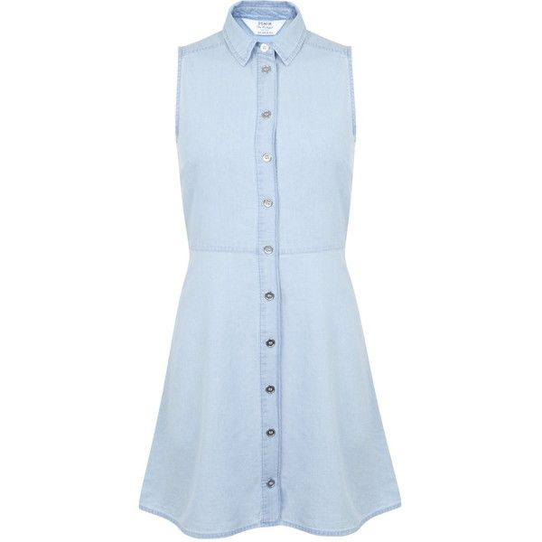Miss Selfridge Petites Chambray Shirt Dress ($26) ❤ liked on Polyvore featuring dresses, pale blue, petite, blue sleeveless dress, button shirt dress, miss selfridge, petite dresses and blue button dress
