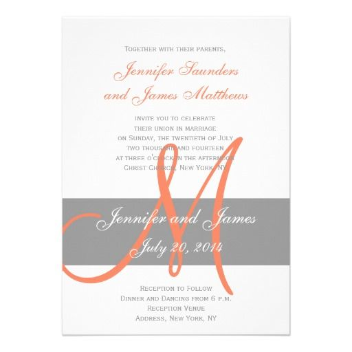 Grey and Orange Wedding Invitations with Monogram and Names by Wedding Designer Elke Clarke© for #monogramgallery on Zazzle. Purchase at zazzle.com/monogramgallery* or pin to your #wedding #invitation ideas board.