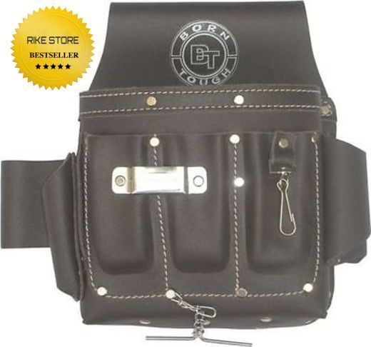 10 Pocket Oil Tanned Leather Electricians Tool Pouch Bag