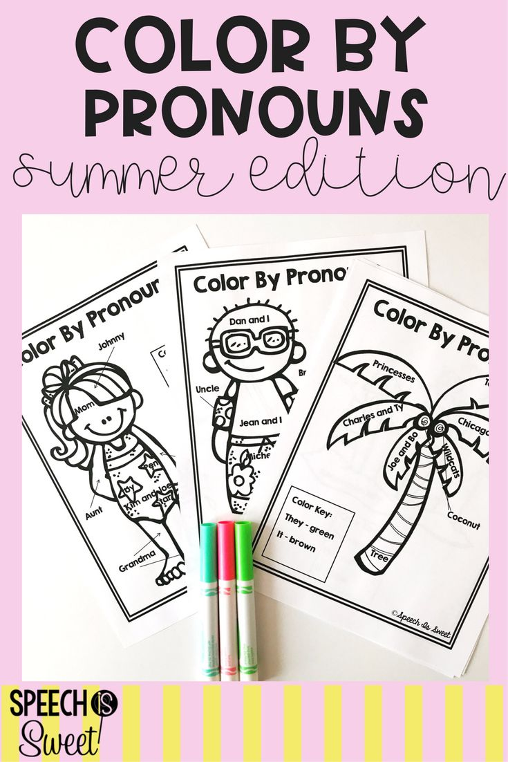 Coloring activities speech therapy - Color By Pronouns Summer Edition Summer Colorsspeech Language Therapyspeech Therapycoloring Sheetstherapy