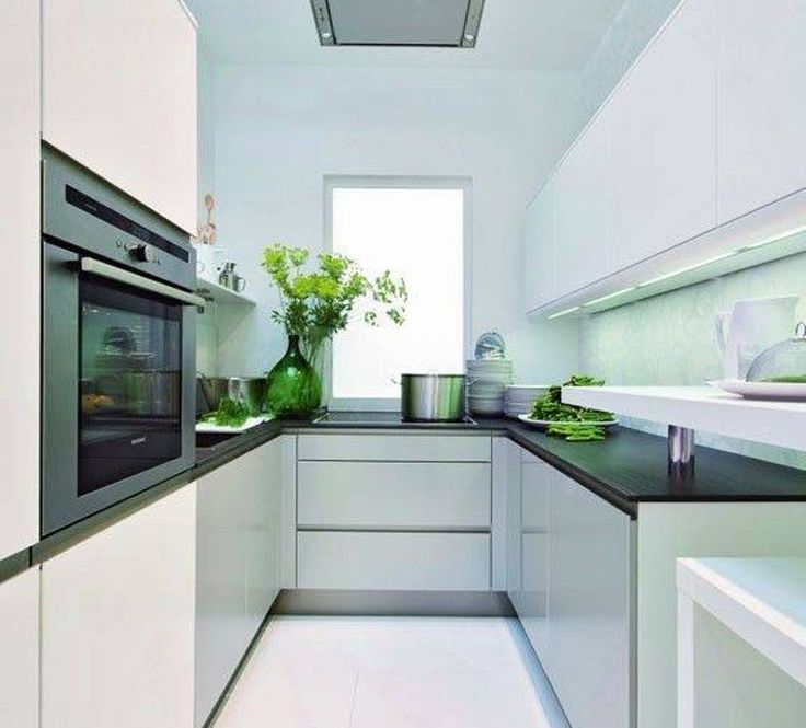 Kitchen, : Beautiful White Small U Shape Kitchen Design Ideas Using White Kitchen Cabinet Including Black Gloss Counter Tops And Plant Kitchen Window Decorations