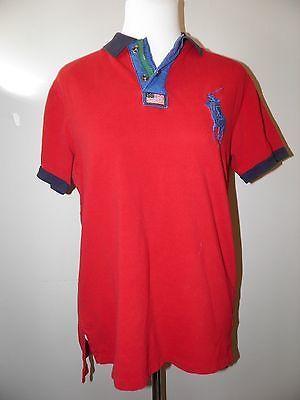 Vintage Polo Ralph Lauren Blue Big Pony Zipper Red Polo Shirt American Flag Sz M