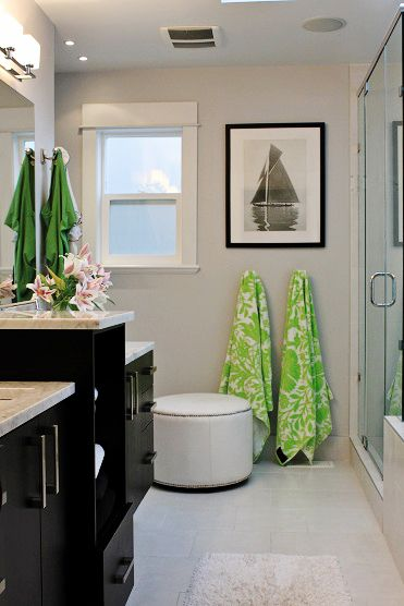 Love this and laid out similar to our guest bath just have a door leading  to the pool where the window is. Find this Pin and more on Amanda Forrest  Design ...