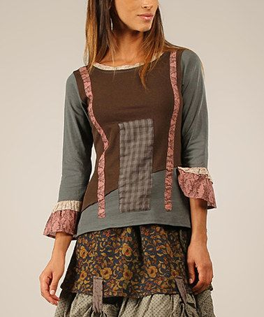 Look at this #zulilyfind! Khaki & Pink Floral-Trim Three-Quarter Sleeve Top #zulilyfinds