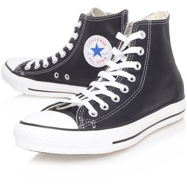 Converse Black Chuck Taylor Leather Hi-Top Trainers (£60) ❤ liked on Polyvore featuring shoes, sneakers, black, converse, trainers, lace up sneakers, converse sneakers, converse high tops, black hi top sneakers and black high top shoes
