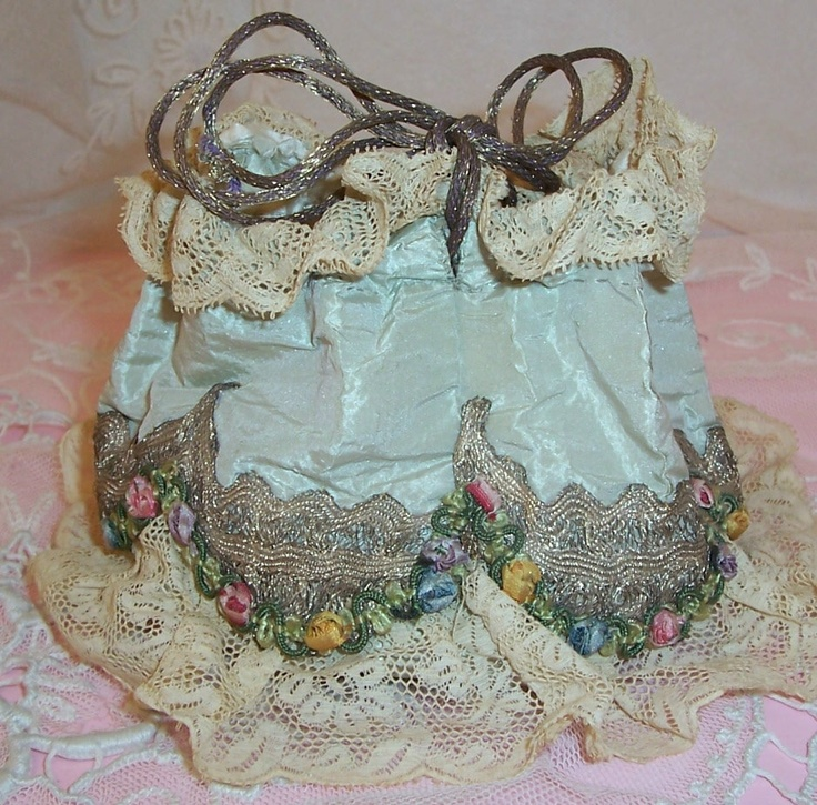 ANTIQUE/French SILK Powder Puff/Dance Bag/Purse...Metallic Lace, Ribbon ROSES/Rococo Trim