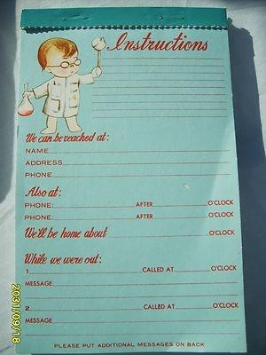 Vintage 1960's Baby Sitting Instruction Tablet