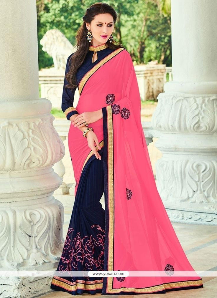 Tantalizing Georgette Navy Blue Patch Border Work Traditional  Saree Model: YOSAR9737