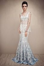 Vestidos de Novia 2016 Two Piece Mermaid Wedding Dresses Sheer Outlet-Beach Bohemian Bridal Dresses Beach Bridal Gown Gelinlik(China (Mainland))