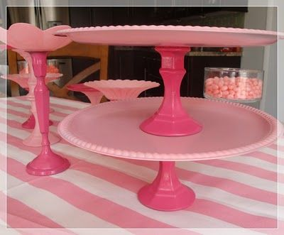 Pink Dollar Store Tiered Trays