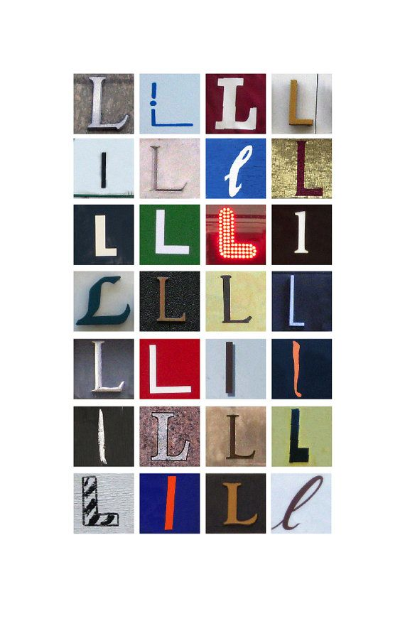 Typography letter L poster in color (11x17)
