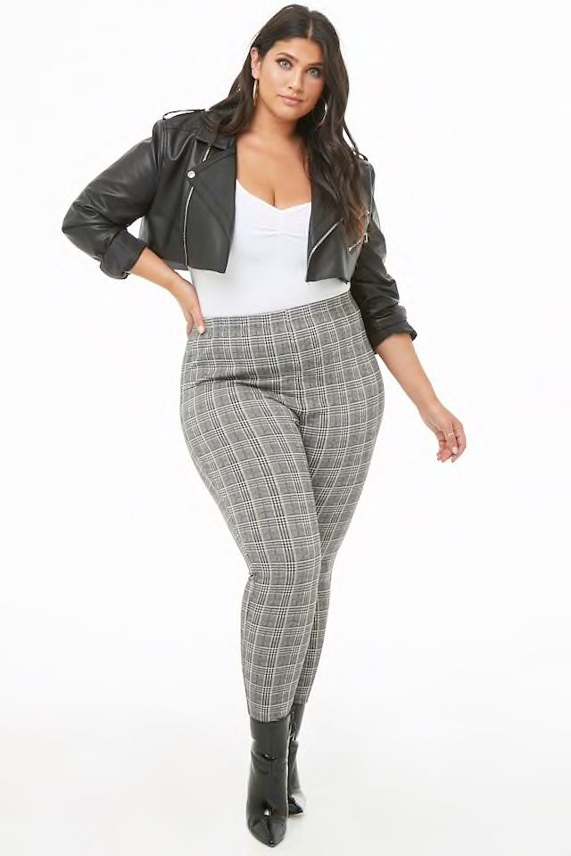 9d00be5f96e Plus Size Plaid High-Waisted Pants