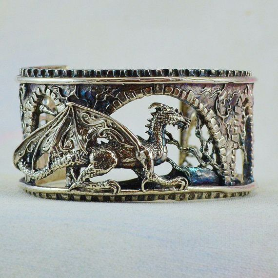 "Fantasy Dragon Bracelet ""Brackenthal's Keep"" in Sterling Silver from Mystic Swan"