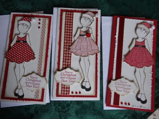3 christmas doll cards... I cut the hair, and added the Kaszazz santa hat stamp image.