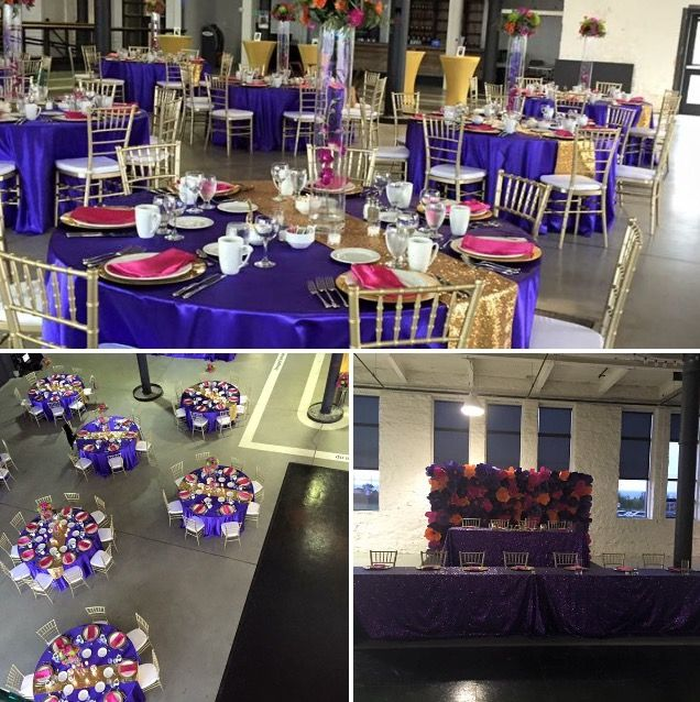 Nothing says #Royal like this #regal wedding! #Purple #Gold Contact us about our #chiavarichairs & #linen #rentals #DiamondEngagement
