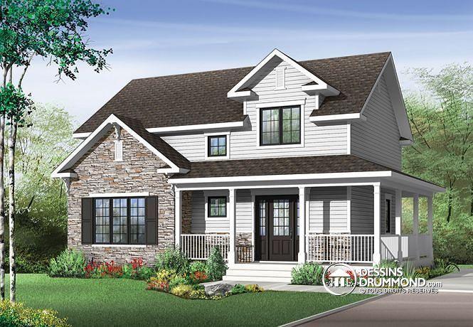 Vue avant Plan de maison champêtre, style farmhouse américaine, grand vestibule, buanderie, grand îlot, 3 chambres - Houston