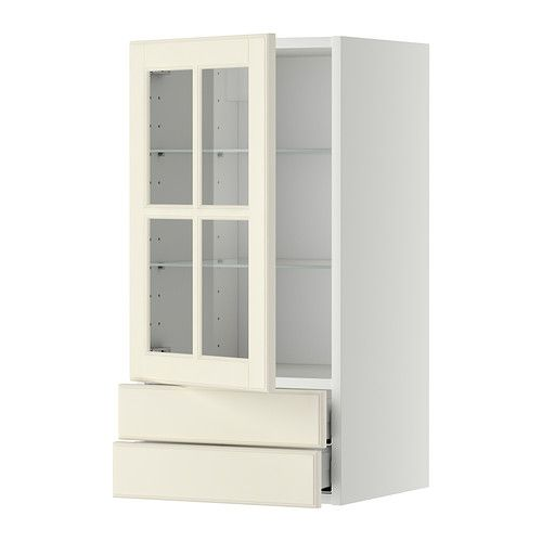 metod maximera wall cabinet w glass door 2 drawers white bodbyn off white 40x80 cm ikea. Black Bedroom Furniture Sets. Home Design Ideas