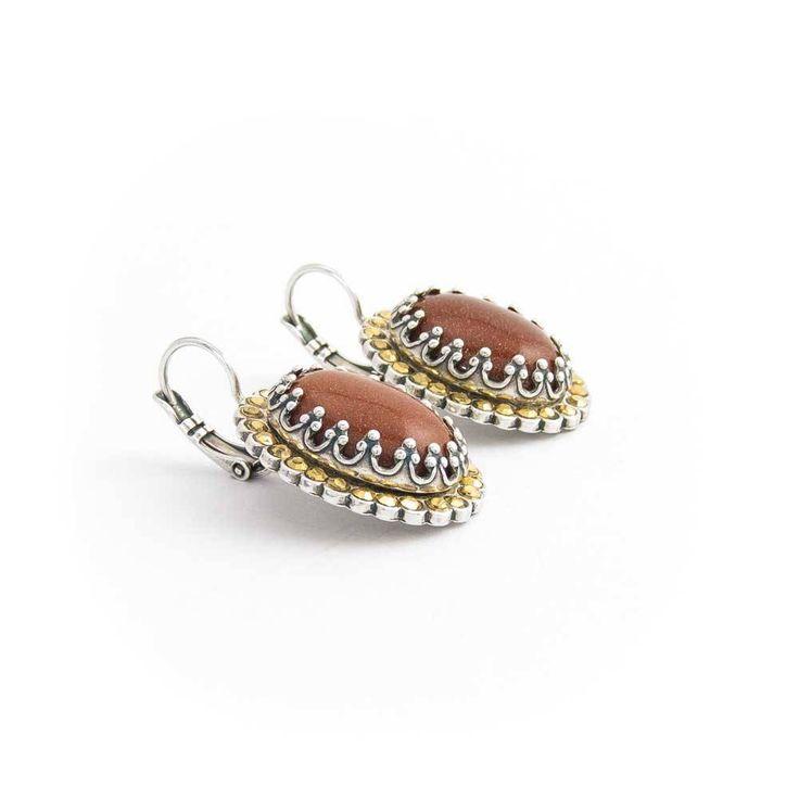 Mariana Ovale bruine oorbellen met goudsteen edelstenen en Swarovski Elements kristallen
