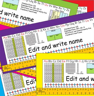 2nd Grade Common Core Editable Desk Plates in six colors — number grid to 120, place value, expanded form, and more!