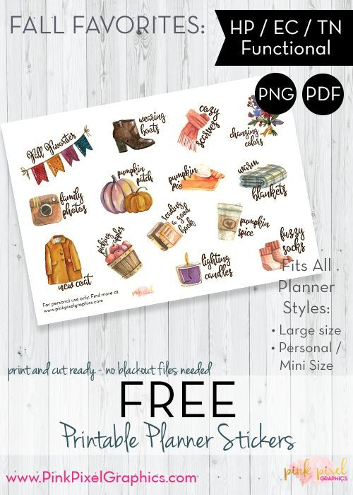 Fall Favorites Functional Planner Stickers - Print and Cut