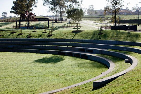 Redfern park minto australia ampitheatre used as for Design of detention pond