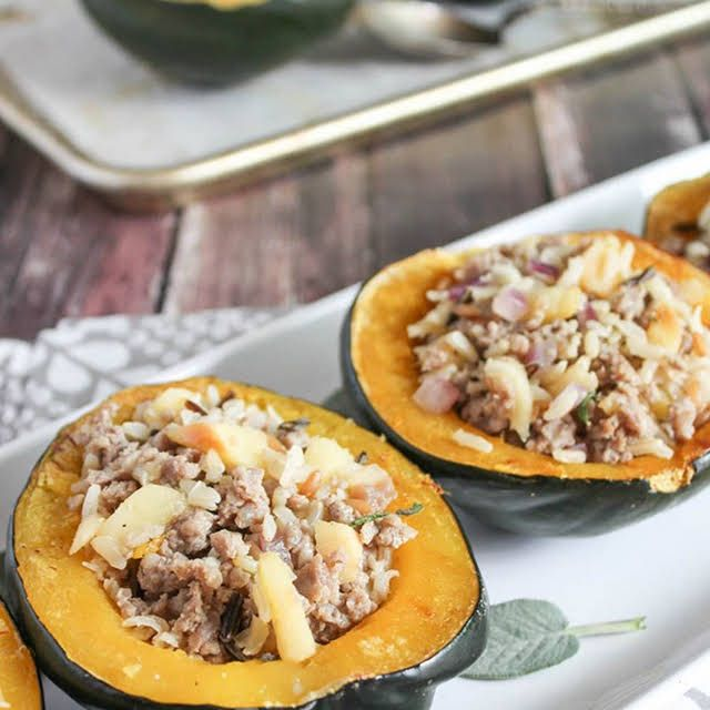 Baked Stuffed Acorn Squash With Sausage And Apples Recipe In