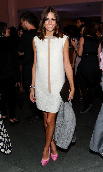 Olivia Palermo's Summer Style: We love how she gives this minimalist Giambattista Valli shift a boost with bright heels.
