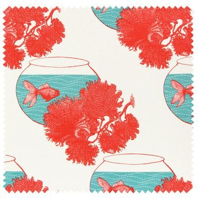 Goldfish & Coral on ivory linen