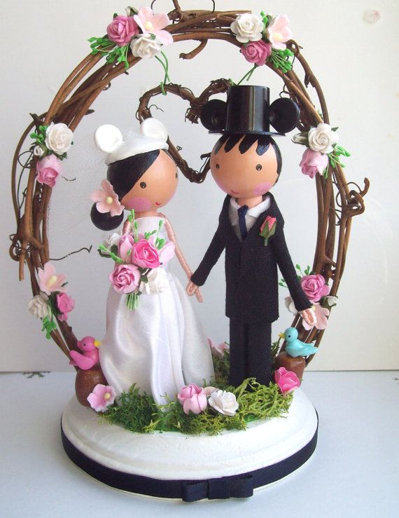 Woodland wedding cake topperbride and groom by tinyblossoms, $140.00