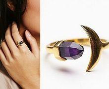 Nueva moda accesorios amatista luna estrella cuff anillo de dedo cristalino para para la muchacha del bonito regalo R1466(China (Mainland))