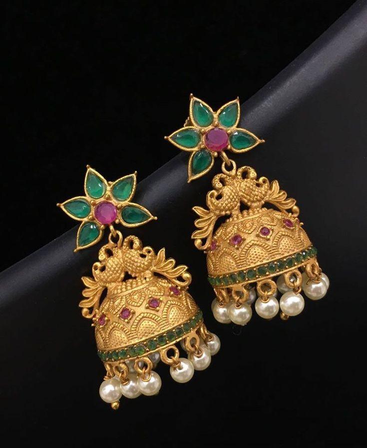 Jhumkas with Green Stones, Green Stone Jhumka Designs, Emerald Jhumka Designs.
