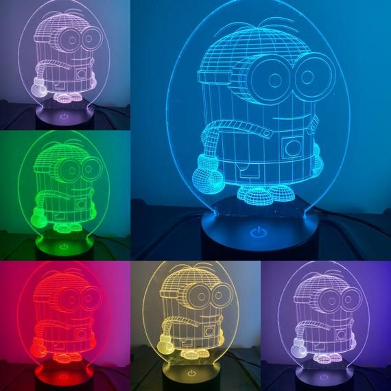 Minions 3d Illusion 7 Colors Changing Led Lamp With Remote Etsy 3d Led Lamp Lamp 3d Illusions