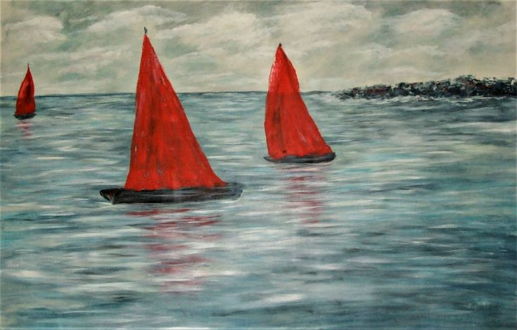 45x70 Large painting Olga Tsyhypko gallery art anniversary housewarming gift for parents,  gray home decor red sailboats art, ocean abstract