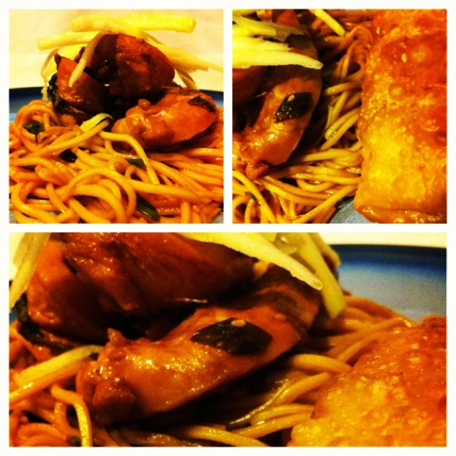 Ginger soy soba noodles with green onion... Chicken and topped with ...