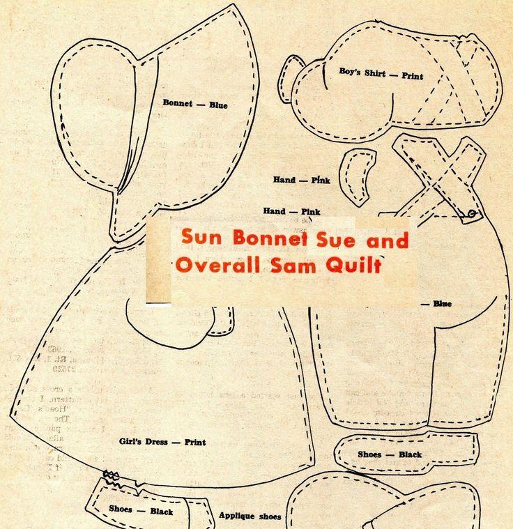Vintage Sun Bonnet Sue Applique Quilt Patterns Girl
