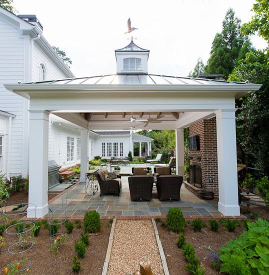 Best 25 covered patio design ideas on pinterest outdoor for Patio home plans with garage