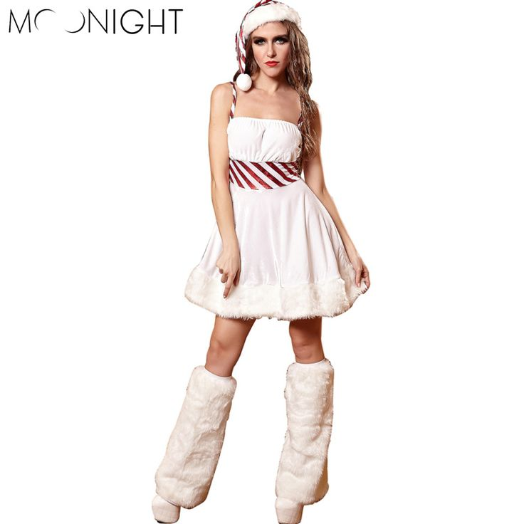 ==> [Free Shipping] Buy Best MOONIGHT 3 Pcs Hot Selling New Arrival White Fantasy Christmas Costume Women Santa Costume Sexy Cosplay Halloween Fancy Dress Online with LOWEST Price | 32764784405