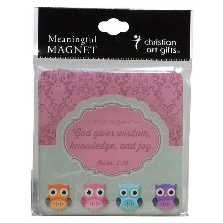 "Magnet  God Gives Wisdom Wisdom Is Sweet Range Owls  Meaningful magnet with Scripture; epoxy-filled; 3"" x 3"".  God gives wisdom, knowledge, and joy. Ecclesiastes 2:26.  Price: R30 per Magnet."