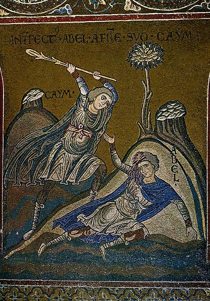 Cain and Abel. Monreale Cathedral, Sicily Byzantine mosaic 12th century
