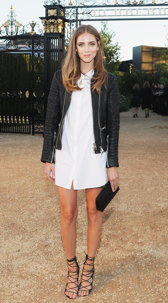 Reach for a black leather bomber jacket and a white shirtdress for a casual-cool vibe. Opt for a pair of black suede heeled sandals to instantly up the chic factor of any outfit.   Shop this look on Lookastic: https://lookastic.com/women/looks/black-bomber-jacket-white-shirtdress-black-heeled-sandals/17583   — Black Leather Bomber Jacket  — White Shirtdress  — Black Leather Clutch  — Black Suede Heeled Sandals
