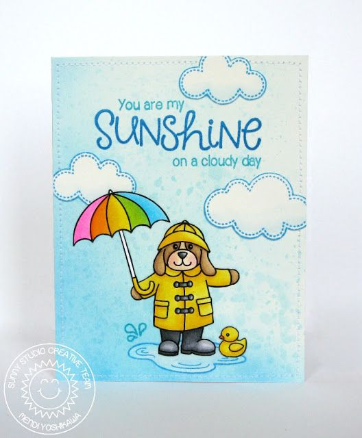 Sunny Studio Stamps Rain or Shine Umbrella Spring Card