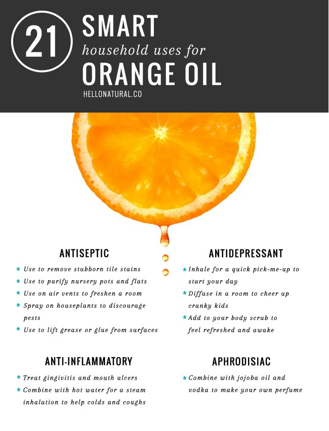 There are dozens of uses for orange oil, from bath time to natural floor cleaners. Get 21 of the smartest, easiest ways to use this awesome essential oil!
