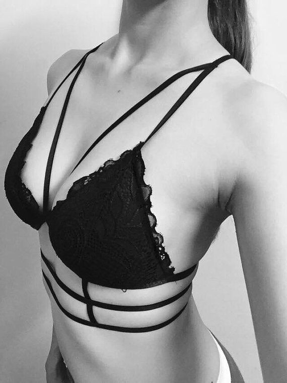 SALE - 15% off for any 3 items, Bralette, Strappy caged bralette, sexy bra, handmade bralet, lingerie - Davinci