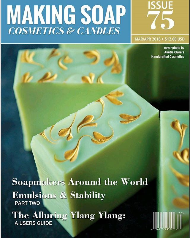 Very proud moment for us: our ever-popular Avocado Lemongrass soap with its trademark gold trim is featured on the cover of the latest issue of Making Soap, Cosmetics & Candles Magazine!