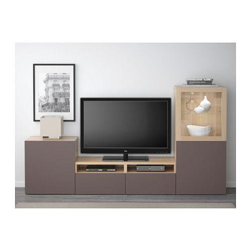 БЕСТО Шкаф для ТВ, комбин/стеклян дверцы - под беленый дуб/Вальвикен темно-коричневый, прозрачное стекло, направляющие ящика, плавно закр - IKEA