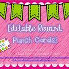 ** Free!!**  These EDITABLE Reward Punch Cards will be a great motivation for your students. Easily customize these cards to fit the needs of your classroom and students. There are so many uses for these cards! You can use them for completion of homework or classwork, for behavior, for amount of books read or amount of points scored on AR or Reading Counts or just to reach a personal goal!